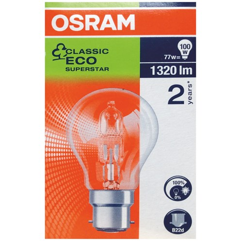 Osram  Eco Classic Halogen Light Bulbs 77W - 3 for 2 Pack