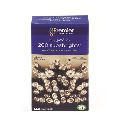 Premier Decorations  200 LED Supabright Lights - Warm White