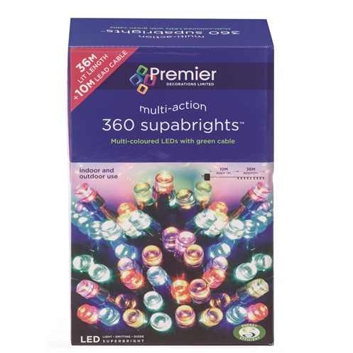 Premier Decorations  360 LED Supabright Lights - Multi-Coloured