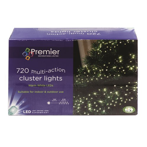 Premier Decorations  720 LED Cluster Lights - Warm White
