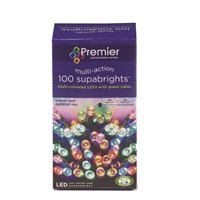 Premier Decorations  100 LED Supabright Lights - Multi-Coloured