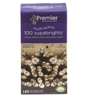 Premier Decorations  100 LED Supabright Lights - Warm White