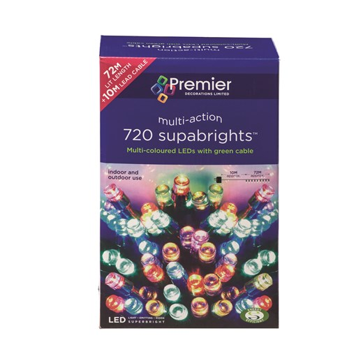 Premier Decorations  720 LED Supabright Lights - Multi-Coloured