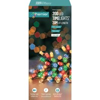 Premier Decorations  200 LED Battery Timer Lights - Multi-Coloured