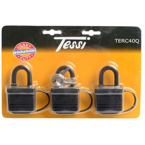 Tessi  Thermoplastic Covered Padlock 3 Pack - 40mm